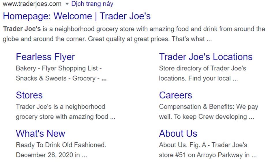"""Kết quả 2 của truy vấn """"Trader Joes"""""""
