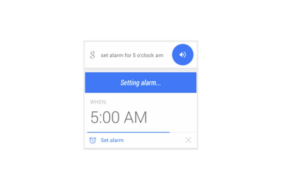 """Khối kết quả hành động của thiết bị khi người dùng truy vấn """"đặt báo thức lúc 5h"""""""