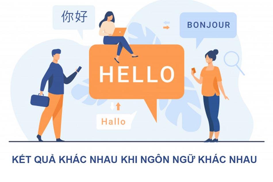 Kết quả hiển thị liên quang đến ngôn ngữ người dùng