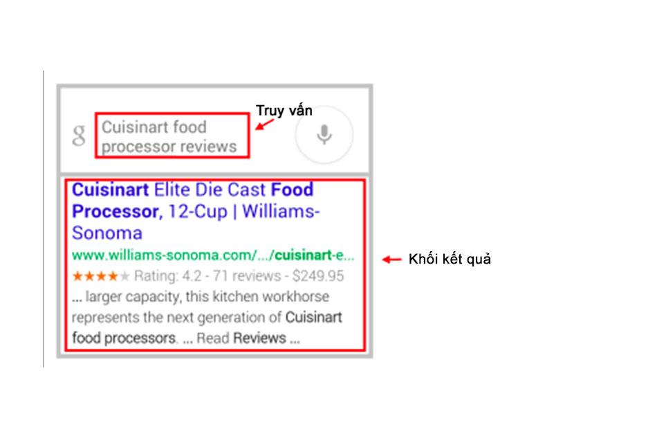 Ví dụ bề khối kết quả tìm kiếm của Web