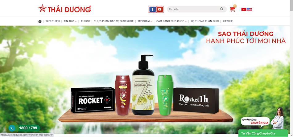 Giao diện mới của website Sao Thái Dương