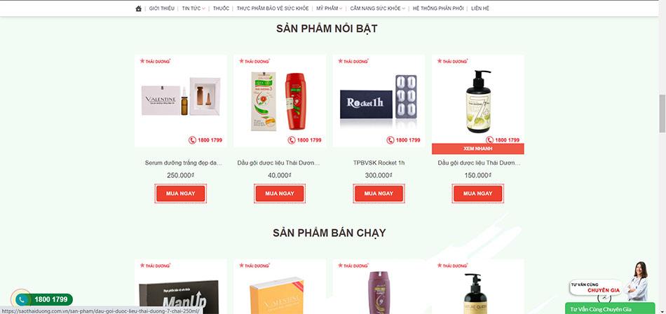 Giao diện website công ty cổ phần Sao Thái Dương